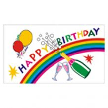 HAPPY BIRTHDAY CHAMPAGNE RAINBOW - 5 X 3 FLAG
